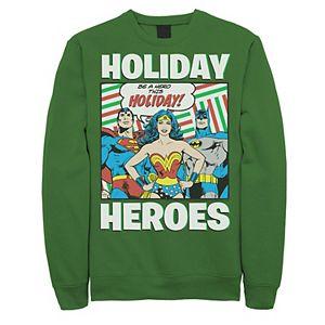 Men's DC Comics Justice League Holiday Heroes Christmas Sweatshirt