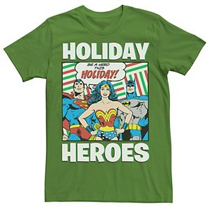 Men's DC Comics Justice League Holiday Heroes Christmas Tee