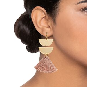 Starfish Project Half Circle Blush Tassel Drop Earrings