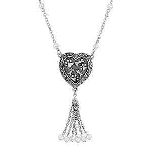 1928 Pewter & Faux Pearl Paw and Bone Heart Tassel Drop Necklace