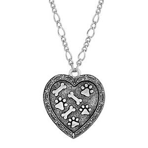 1928 Pewter Heart, Paw, & Bones Necklace
