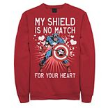 Men's Marvel Captain America Shield Heart Valentine Graphic Fleece Pullover
