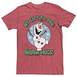 Men's Disney Frozen Olaf My Gift To You Warm Hugs Portrait Tee
