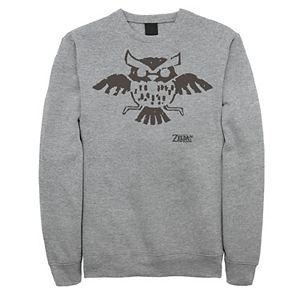 Men's Nintendo Legend Of Zelda Links Awakening Owl Glyph Graphic Fleece Pullover