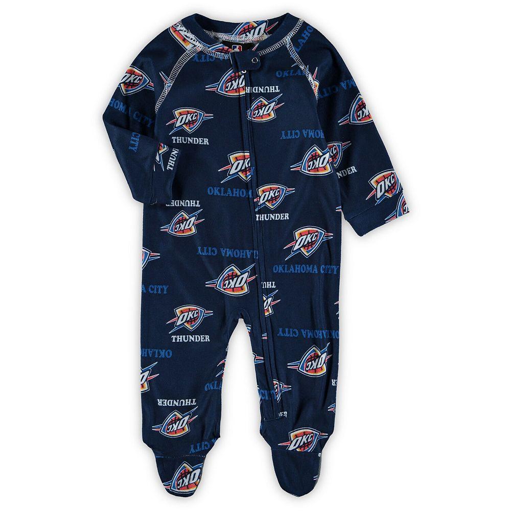 Newborn Navy Oklahoma City Thunder Zip-Up Raglan Sleeper