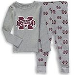 Toddler Heathered Gray Mississippi State Bulldogs Long Sleeve T-Shirt & Pant Sleep Set