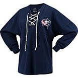 Women's Fanatics Branded Navy Columbus Blue Jackets Lace Up Long Sleeve Spirit T-Shirt