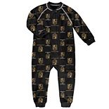 Toddler Black Vegas Golden Knights Team Print Raglan Sleeve Full-Zip Jumper Pajamas