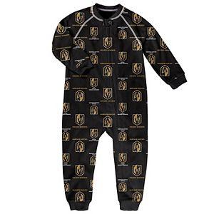 Toddler Black Vegas Golden Knights Team Print Raglan Sleeve Full-Zip Jumper Pajamas