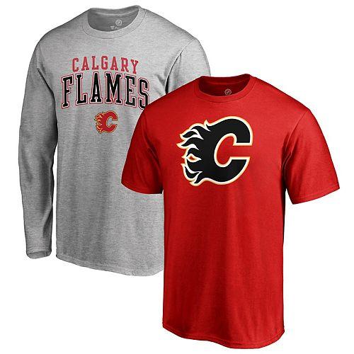 Men S Fanatics Branded Red Gray Calgary Flames Big Tall Combo T Shirt Set