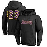 Men's Fanatics Branded LeBron James Black Los Angeles Lakers Side Sweep Hoodie