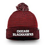 Men's Fanatics Branded Red/Black Chicago Blackhawks Waffle Heavy Cuffed Knit Hat With Pom