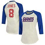 Women's Majestic Threads Daniel Jones Cream/Royal New York Giants Vintage Inspired Player Name & Number Raglan 3/4-Sleeve T-Shirt