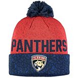 Men's Fanatics Branded Navy/Red Florida Panthers Fan Weave Cuffed Knit Hat with Pom