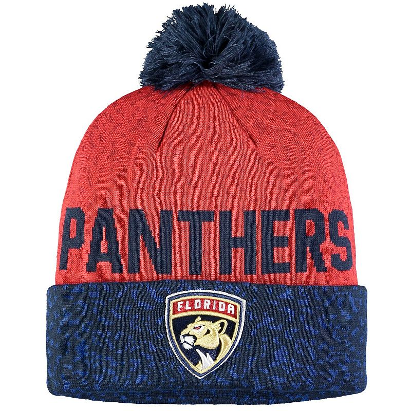 Men's Fanatics Branded Navy/Red Florida Panthers Fan Weave Cuffed Knit Hat with Pom, Blue