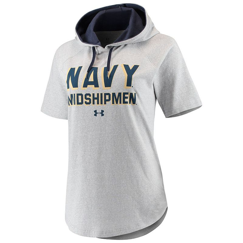 Women's Under Armour Gray/Navy Navy Midshipmen Hoodie Tri-Blend T-Shirt, Size: Large, Grey