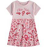 Girls Preschool Wes & Willy Light Pink Ohio State Buckeyes Floral Print Tri-Blend Sun Dress