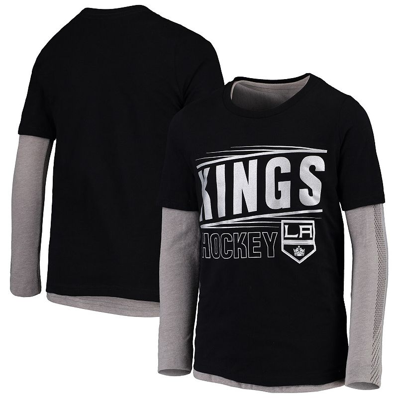 Youth Black/Gray Los Angeles Kings Binary 2-In-1 Long Sleeve/Short Sleeve T-Shirt Set, Boy's, Size: YTH Large