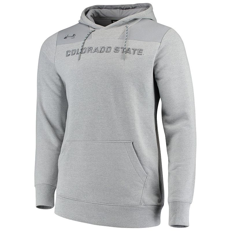 Men's Under Armour Heathered Gray Colorado State Rams Sideline Performance Fleece Pullover Hoodie, Size: 3XL, Grey