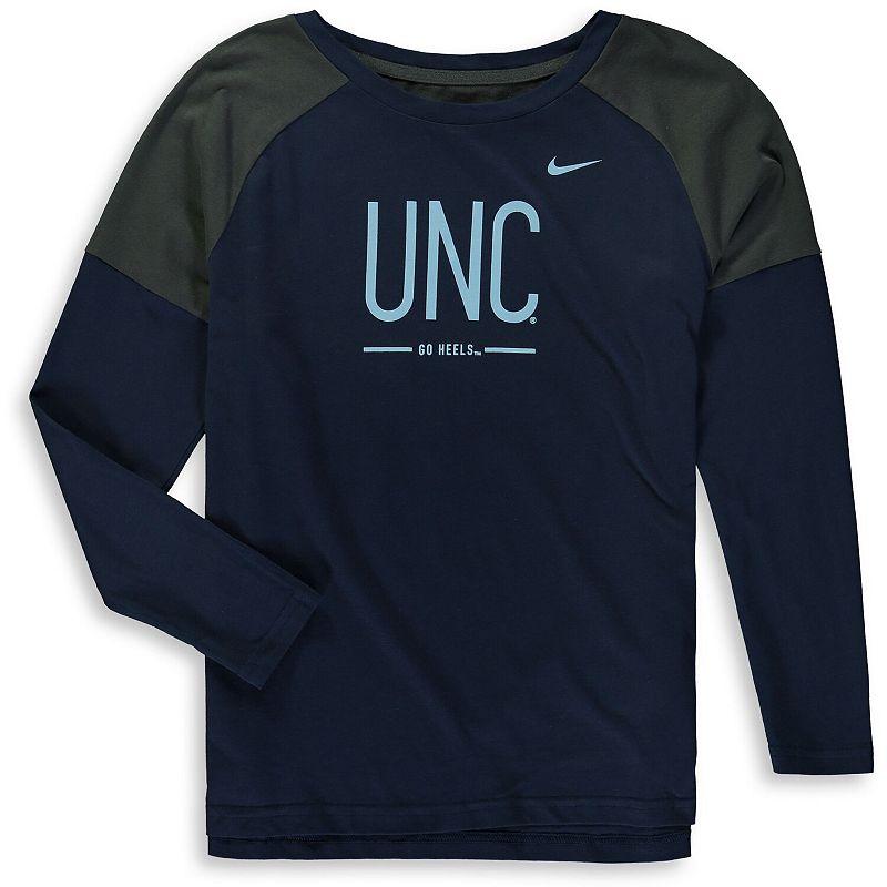 Girls Youth Nike Navy North Carolina Tar Heels Tailgate Long Sleeve T-Shirt, Girl's, Size: YTH Small, Blue