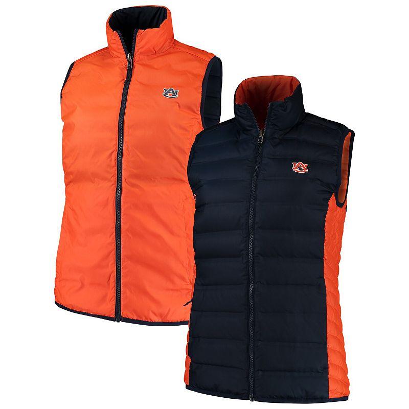 Women's Columbia Navy/Orange Auburn Tigers Lake 22 Reversible Puffer Vest, Size: Small, Blue