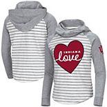 Girls Youth Colosseum White/Heathered Gray Indiana Hoosiers Robin Striped Hoodie Long Sleeve Raglan T-Shirt
