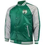 Men's Majestic Kelly Green Boston Celtics Big & Tall Lightweight Satin Full-Snap Jacket