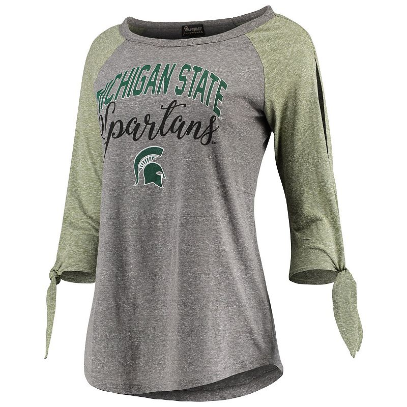 Women's Gray Michigan State Spartans Out 'n About Tie Tri-Blend Raglan 3/4-Sleeve T-Shirt, Size: XS, Grey