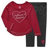Girls Toddler Colosseum Crimson Indiana Hoosiers Ice Metallic Long Sleeve T-Shirt & Leggings Set