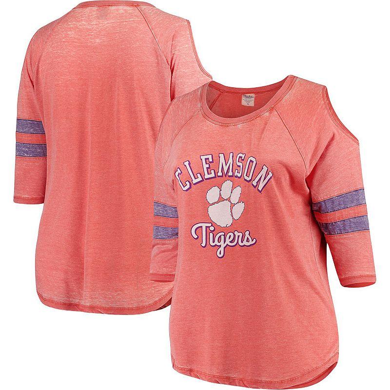 Women's Pressbox Orange Clemson Tigers Plus Size Vintage Wash Cold Shoulder Raglan 3/4-Sleeve T-Shirt, Size: 1XL