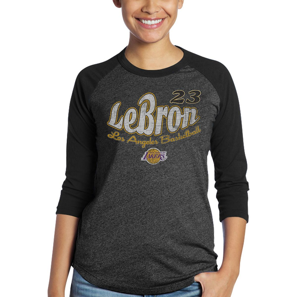 Women's Majestic Threads Black Los Angeles Lakers Lebron Graphic 3/4-Sleeve Tri-Blend Raglan T-Shirt VwYO9