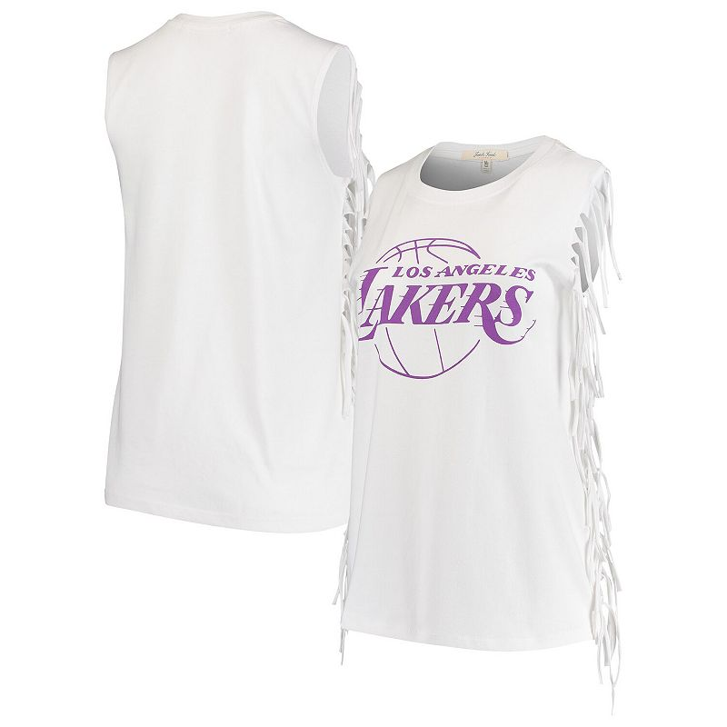 Women's Junk Food White Los Angeles Lakers Fringe Tank Top, Size: Small