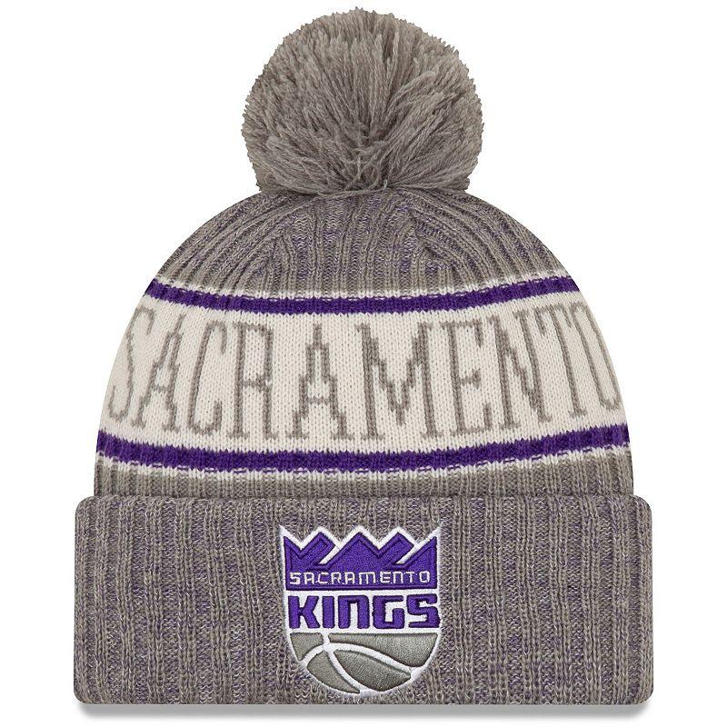 Men's New Era Gray Sacramento Kings Sport Cuffed Knit Hat with Pom, Grey