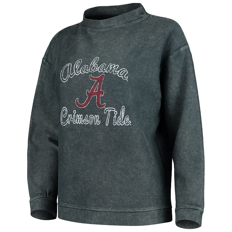 Women's Concepts Sport Charcoal Alabama Crimson Tide Jetway Mineral Wash Corduroy Crew Neck Sweatshirt, Size: Medium, Grey