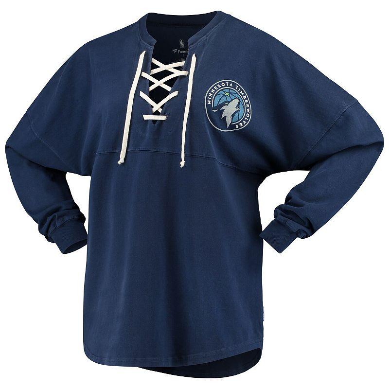 Women's Fanatics Branded Navy Minnesota Timberwolves Lace-Up Spirit Jersey Long Sleeve T-Shirt, Size: XS, Blue