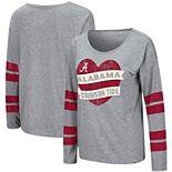 Women's Colosseum Heathered Gray Alabama Crimson Tide Nellie Heart Striped Long Sleeve T-Shirt