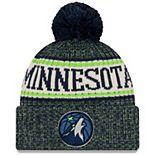 Men's New Era Navy Minnesota Timberwolves Sport Cuffed Knit Hat with Pom