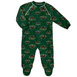 Newborn & Infant Green Minnesota Wild Team Print Raglan Sleeve Full-Zip Jumper Pajamas