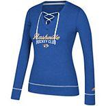 Women's adidas Heathered Royal Nashville Predators Skate Through Long Sleeve Lace-Up V-Neck T-Shirt