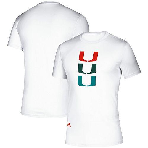 Men's adidas White Miami Hurricanes Parley climalite T Shirt