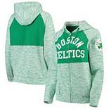Women's New Era Kelly Green Boston Celtics Space Dye Team Color Yoke Full-Zip Hoodie