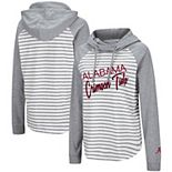 Women's Colosseum Heathered Gray/White Alabama Crimson Tide Yacht Trip Striped Hoodie Long Sleeve Raglan T-Shirt