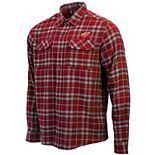 Men's Antigua Red/Gray Detroit Red Wings Stance Plaid Button-Up Long Sleeve Shirt