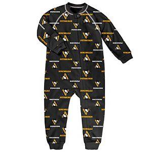 Toddler Black Pittsburgh Penguins Team Print Raglan Sleeve Full-Zip Jumper Pajamas