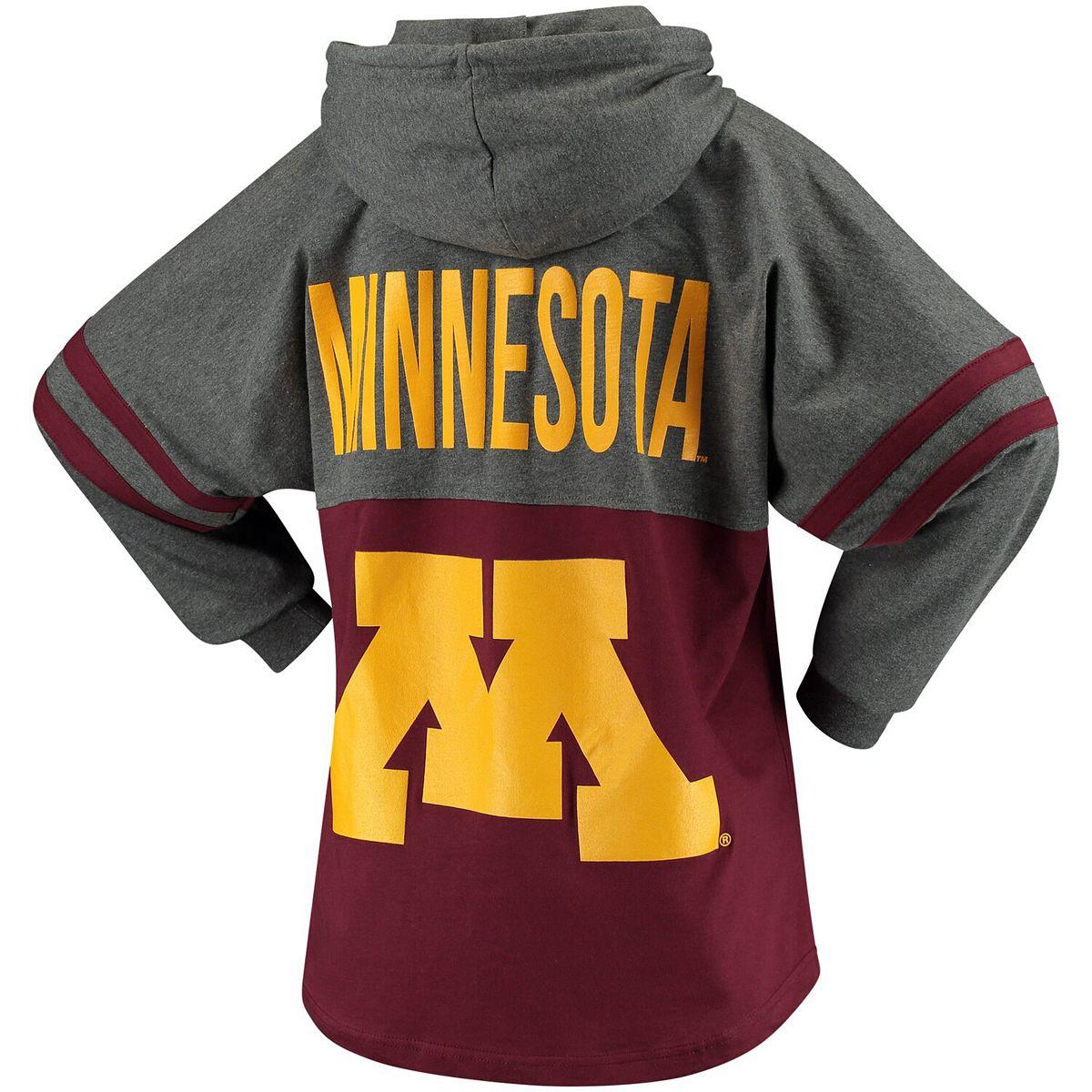 Women's Maroon Minnesota Golden Gophers Pom Pom Jersey Oversized Long Sleeve Hoodie T-Shirt pAaEC