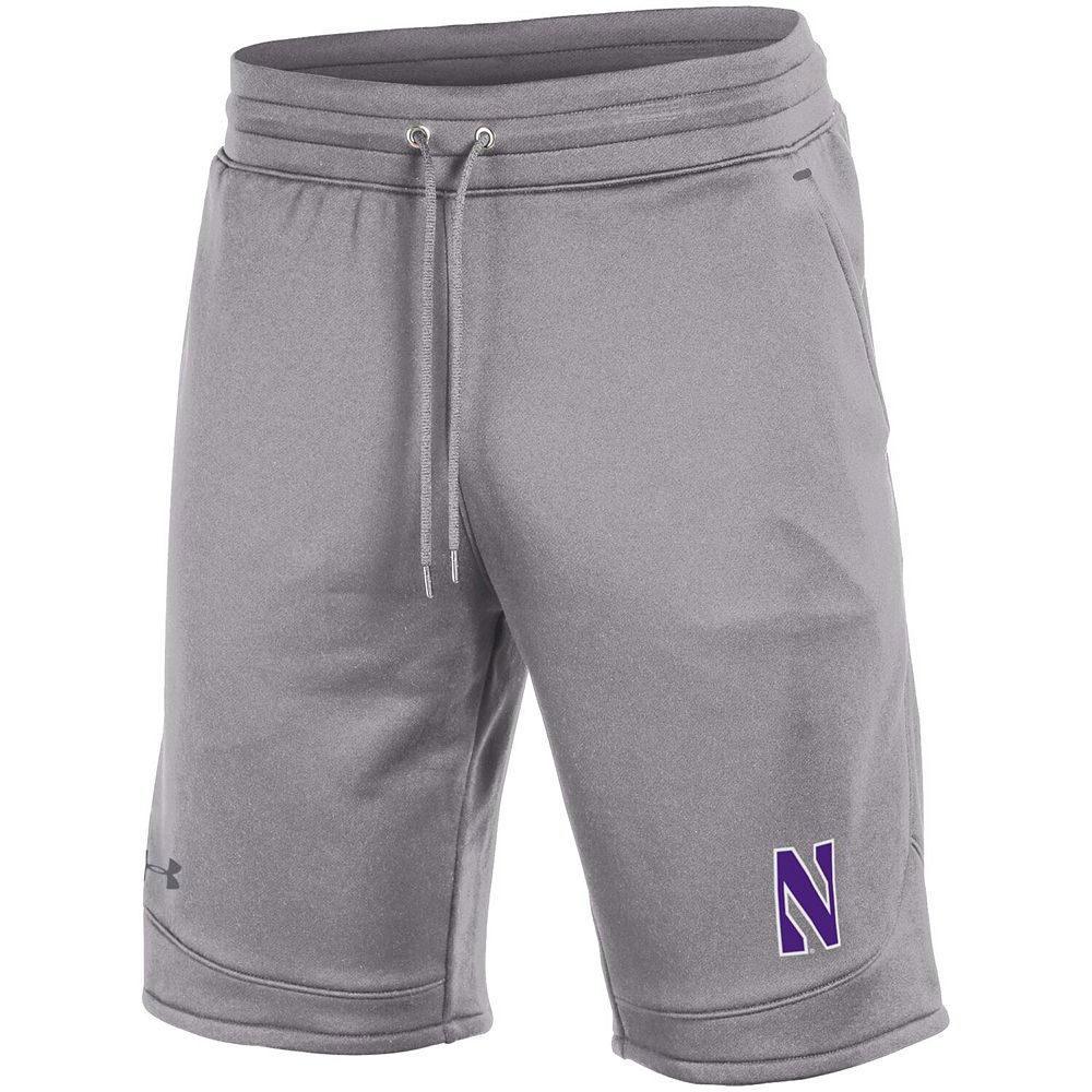 Men's Under Armour Heathered Gray Northwestern Wildcats Tech Terry Shorts