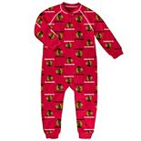 Toddler Red Chicago Blackhawks Team Print Raglan Sleeve Full-Zip Jumper Pajamas