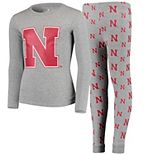 Youth Heathered Gray Nebraska Cornhuskers Long Sleeve T-Shirt & Pant Sleep Set