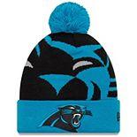 Youth New Era Blue Carolina Panthers Logo Whiz 3 Cuffed Knit Hat