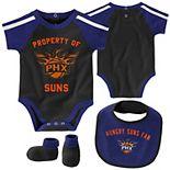 Newborn & Infant Purple/Black Phoenix Suns Rebound Bodysuit, Bib & Booties Set